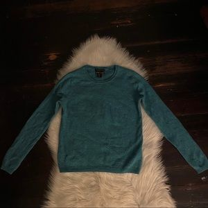 tahari 💯 cashmere pure luxe teal sweater sz L